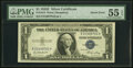 Inverted Back Error Fr. 1614 $1 1935E Silver Certificate. PMG About Uncirculated 55 EPQ