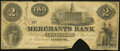 Obsoletes By State:Indiana, Lafayette, IN-Merchants Bank $2 Dec 15, 1852 Very Good, COC.. ...