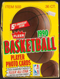 Basketball Cards:Unopened Packs/Display Boxes, 1990 Fleer Basketball Wax Box With 36 Unopened Packs....
