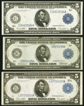Large Size:Federal Reserve Notes, Fr. 876 $5 1914 Federal Reserve Note Very Fine-Extremely Fine;. Fr. 879a $5 1914 Federal Reserve Note Very Fine-Extremely ... (Total: 3 notes)