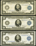 Large Size:Federal Reserve Notes, Fr. 979a $20 1914 Federal Reserve Notes Three Examples Very Fine or Better.. ... (Total: 3 notes)
