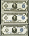 Large Size:Federal Reserve Notes, Fr. 908 $10 1914 Federal Reserve Note Very Fine-Extremely Fine;. Fr. 911b $10 1914 Federal Reserve Note Very Fine-Extremel... (Total: 3 notes)