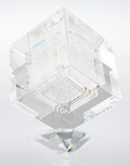 Sculpture, Jon Kuhn (American, b. 1949). Future Shock, 1995. Glass . 16-1/2 x 12-1/2 x 12-1/2 inches (41.9 x 31.8 x 31.8 cm). Incis...
