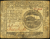 Continental Currency November 29, 1775 $4 Very Fine