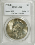 Eisenhower Dollars: , 1978-D $1 MS66 PCGS. PCGS Population (229/1). NGC Census: (158/2). Mintage: 33,012,890. Numismedia Wsl. Price: $140. (#7426...