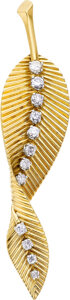Estate Jewelry:Brooches - Pins, Diamond, Gold, Platinum Brooch, Van Cleef & Arpels, French. ...