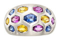 Estate Jewelry:Rings, Multi-Color Sapphire, White Gold Ring. ...