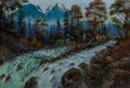 Paintings, Heinrich Koch (German, 1806-1893). Outflow of the Ache from the Hintersee near Berchtesgaden. Oil on canvas. 16 x 24 inc...