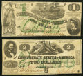 Confederate Notes:1862 Issues, T43 $2 1862 PF-1 Cr. 338 Fine;. T45 $1 1862 PF-1 Cr. 342A Very Fine.. ... (Total: 2 notes)