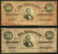 Confederate Notes:1864 Issues, T66 $50 1864 PF-1; PF-2 Cr. 495; Cr. 496 Fine-Very Fine.. ... (Total: 2 notes)