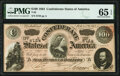 Confederate Notes:1864 Issues, T65 $100 1864 PMG Gem Uncirculated 65 EPQ.. ...