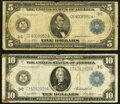 Fr. 855a $5 1914 Federal Reserve Note VG; Fr. 915A $10 1914 Federal Reserve Note Fine-VF