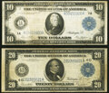 Fr. 907a $10 1914 Federal Reserve Note Fine; Fr. 979a $20 1914 Federal Reserve Note Fine-Very Fine