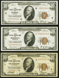 Fr. 1860-E; I; L $10 1929 Federal Reserve Bank Notes. Very Fine to About Uncirculated