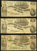 Confederate Notes:1862 Issues, T44 $1 1862 (2) PF-1 Cr. 339 Very Choice Crisp Uncirculated;. T45 $1 1862 PF-2 Cr. 342 Very Good.. ... (Total: 3 notes)
