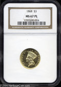 Three Dollar Gold Pieces: , 1868 $3 MS67 Prooflike NGC. A spectacular and flawless ...