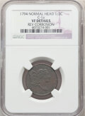 Half Cents, 1794 1/2 C Normal Head, C-1a, B-1a, R.3, -- Rev Corrosion -- NGC Details. VF. Mintage 81,600. ...