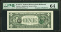 Error Notes:Third Printing on Reverse, Third Printing on Back Error Fr. 1910-E $1 1977A Federal Reserve Note. PMG Choice Uncirculated 64.. ...