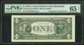 Error Notes:Third Printing on Reverse, Third Printing on Back Error Fr. 1910-E $1 1977A Federal Reserve Note. PMG Gem Uncirculated 65 EPQ.. ...