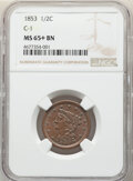 Half Cents, 1853 1/2 C C-1, B-1, R.1, MS65+ Brown NGC. NGC Census: (115/40 and 2/1+). PCGS Population: (4/1 and 0/0+). MS65. Mintage 12...