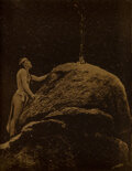 Photographs, Edward Sheriff Curtis (American, 1868-1952). Signal Fire to the Mountain God, 1909. Orotone. 4 x 3 inches (10.2 x 7.6 cm...