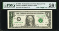 Error Notes:Offsets, Partial Back to Face Offset Error Fr. 1922-J $1 1995 Federal Reserve Note. PMG Choice About Unc 58 EPQ.. ...