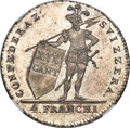 Switzerland:Ticino, Switzerland: Ticino. Canton 4 Franchi 1814 MS67 NGC,...