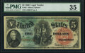 Large Size:Legal Tender Notes, Fr. 64 $5 1869 Legal Tender PMG Choice Very Fine 35.. ...