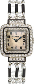 Estate Jewelry:Watches, Longines Lady's Art Deco Diamond, Seed Pearl, Enamel, Platinum, Gold Watch, French, retailed by Tiffany & Co.. ...