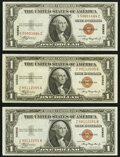 Small Size:World War II Emergency Notes, Fr. 2300 $1 1935A Hawaii Silver Certificates. Three Examples. Extremely Fine-About Uncirculated or Better.. ... (Total: 3 notes)