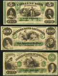 Obsoletes By State:Louisiana, New Orleans, LA- Citizens' Bank of Louisiana $5; $100 18__ Remainders Choice Crisp Uncirculated;. Shreveport, LA- Citi... (Total: 3 notes)