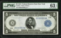 Fr. 851a $5 1914 Federal Reserve Note PMG Choice Uncirculated 63 EPQ
