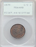 Half Cents: , 1835 1/2 C MS64 Red and Brown PCGS. PCGS Population: (122/29). NGC Census: (71/28). CDN: $920 Whsle. Bid for NGC/PCGS MS64....