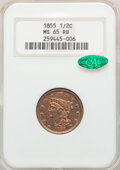 Half Cents: , 1855 1/2 C MS65 Red and Brown NGC. CAC. PCGS Population: (25/1). CDN: $1,250 Whsle. Bid for NGC/PCGS MS6...