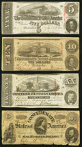 Confederate Notes:1863 Issues, T60 $5 1863 Very Fine;. T59 $10 1863 Very Good;. T58 $20 1863 Very Fine;. T56 $100 1863 Good.. ... (Total: 4 notes)