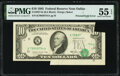 Error Notes:Foldovers, Printed Fold Error Fr. 2027-K $10 1985 Federal Reserve Note. PMG About Uncirculated 55 EPQ.. ...