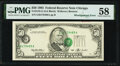 Misaligned Overprint - Shifted Third Printing Error Fr. 2125-G $50 1993 Federal Reserve Note. PMG Choice About Unc 58