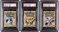 Memorabilia:Trading Cards, Pokémon First Edition Fossil Set Sealed Booster Packs Group of 3 (Wizards of the Coast, 1999) PSA MINT 9.... (Total: 3 )