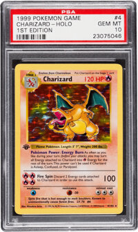 Pokémon Charizard #4 First Edition Base Set Rare Hologram Trading Card (Wizards of the Coast, 1999) PSA GEM MT 10...