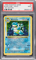Memorabilia:Trading Cards, Pokémon Blastoise #2 First Edition Base Set Rare Hologram Trading Card (Wizards of the Coast, 1999) PSA MINT 9....