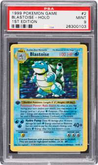 Pokémon Blastoise #2 First Edition Base Set Rare Hologram Trading Card (Wizards of the Coast, 1999) PSA MINT 9...