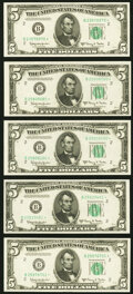 Fr. 1966-B* $5 1950E Federal Reserve Notes. Five Examples. Choice Crisp Uncirculated
