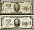 National Bank Notes:Missouri, Saint Louis, MO - $20 1929 Ty. 1 The Telegraphers National Bank Ch. # 12389 Very Fine-Extremely Fine;. Saint Louis... (Total: 2 notes)