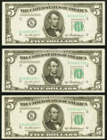 Fr. 1963-K* $5 1950B Federal Reserve Notes. Three Examples. Choice Crisp Uncirculated