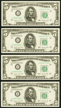 Small Size:Federal Reserve Notes, Fr. 1964-J* $5 1950C Federal Reserve Notes. Four Consecutive Examples. Choice Crisp Uncirculated.. ... (Total: 4 notes)