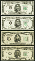 Fr. 1960-G* $5 1934D Federal Reserve Note. Fine-Very Fine; Fr. 1962-A*; B; H* $5 1950A Federal Reserve Notes. V