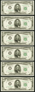 Small Size:Federal Reserve Notes, Fr. 1961-C $5 1950 Wide I Federal Reserve Notes. Six Consecutive Examples. Choice Crisp Uncirculated.. ... (Total: 6 notes)