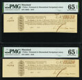 (Unknown Location), MD - Potomack and Shenandoah Navigation Lottery Ticket April, 1810, Two Consecutive Examples PMG Gem...