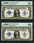Fr. 237 $1 1923 Silver Certificates Two Examples PMG Graded About Uncirculated 55; Choice About Unc 58 EPQ