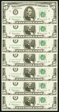 Small Size:Federal Reserve Notes, Fr. 1968-F $5 1963A Federal Reserve Notes. Seven Examples. Choice Crisp Uncirculated.. ... (Total: 7 notes)